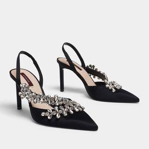 Size 38 Uterque Rhinestone Slingback Heels